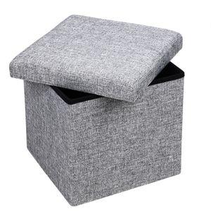 Deuba Sitztruhe Sitzhocker mit Stauraum Gepolstert Faltbar Kunstleder Sitzwürfel Aufbewahrungsbox Truhe Hocker, Größe/Farbe:M - grau