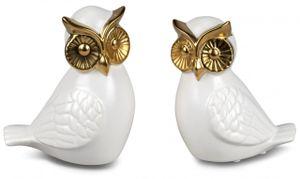 2er Set Dekofiguren Eulen MODERN GOLD H. 15cm mattweiß gold Keramik Formano