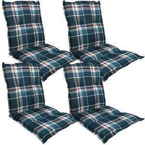 Niedriglehner Auflage Naxos für Gartenstühle 4er Set 98x49 cm Karo Dunkelblau - 6 cm starke Premium Stuhlauflage mit Komfortschaumkern – Sitzauflage  EU