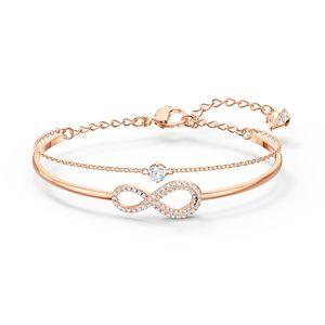 Swarovski Armreif 5518871 Infinity, weiss, Rosé vergoldet