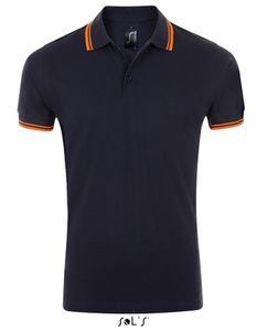 Herren Polo Shirt Pasadena - Farbe: French Navy/Neon Orange - Größe: L