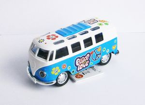 VOLKSWAGEN Bus T1 FLOWER POWER VW mit Licht/Ton Modell Modellauto Hippie 01(Blau / Weiss)
