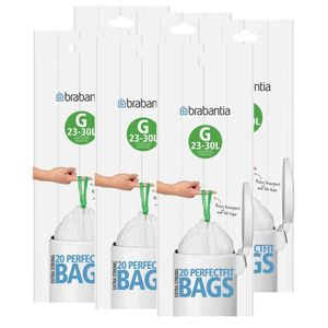 Brabantia Müllbeutel Smartfix (G) 23-30 Liter, 20 Mülltüten (6er Pack)