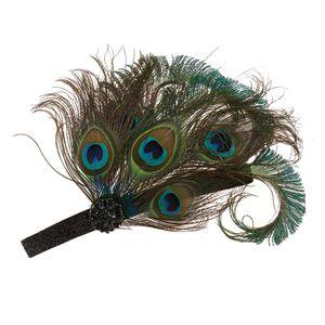 Pfau Feder Haarband Hochzeit Kopfband Gatsby 1920er Kostüm dehnbar Schwarz Stirnband 1920er Jahre