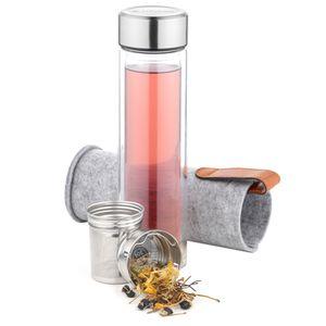 Teeflasche mit Edelstahl Sieb und Hülle
