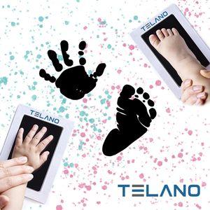 Baby Handabdruck und Fußabdruck Fotokarte - Baby Geschenk - Gipsabdruck Alternative - Leicht zu reinigen - inkl. 2 weißen Karten - Baby abdruck