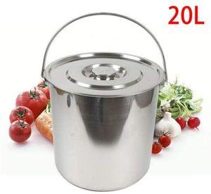 Eimer Edelstahleimer  Kücheneimer Milcheimer Wassereimer  Futtereimer Sektkübel mit Deckel    für Wasser Milch Eiskübel (20L)