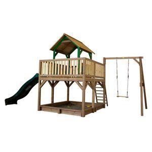 AXI Spielhaus Atka mit Sandkasten, Schaukel & grüner Rutsche   Stelzenhaus in Braun & Grün ausHolz für Kinder   Spielturm mit Wellenrutsche für den Garten