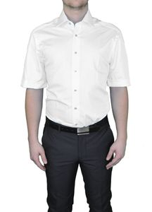 Bügelfreies Modern fit Herren Kurzarm Hemd - Body Cut -  in verschiedenen Farben Marke Redmond (150910), Größe:XL, Farbe:Weiß(0)