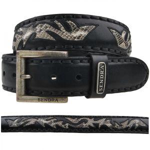 Sendra Gürtel Python 8323 schwarz, Länge:80 cm