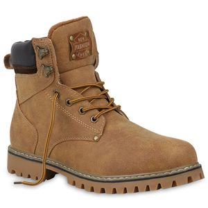 Mytrendshoe Herren Worker Boots Outdoor Schuhe Schnürstiefel 813383, Farbe: Hellbraun, Größe: 40