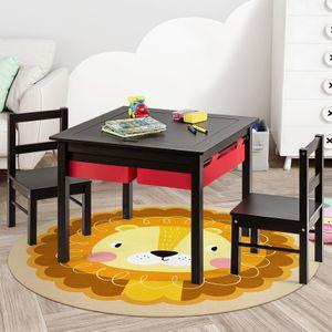 COSTWAY Kinder Spieltisch mit doppelseitiger Tischplatte, Bausteintisch mit Schubladen, Schreibtisch und Zeichentisch aus Holz, Kinder Sitzgruppe zum Zeichnen, Lesen und Basteln (Braun)