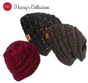 Strickmütze für Damen mit Pferdeschwanz , Kopfgröße:Einheitsgröße, Farben:schwarz