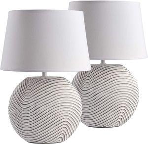 2er Set BRUBAKER Tisch- oder Nachttischlampen Weiß Keramikfüße in zweifarbigem, mattem Finish - 38 cm Höhe