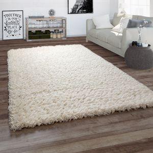 Hochflor Teppich Wohnzimmer Shaggy Einfarbig Flauschig Weich Langflor In Weiß, Grösse:160x230 cm