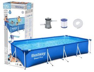 Bestway 56424 Rechteckig Aufstellpool Schwimmbad Steel Pro 400x211x81 cmGestalten: Rectangular, Maße: 4 - 4,99 m, Filterpumpe: 58381