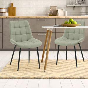 Merax 2er Set Esszimmerstuhl Stoff Esszimmerstühle Konferenzstuhl aus Leinen, Stuhl Polsterstuhl Sessel Stoffkissen-Akzentstühle, Vintage Design Stuhl, Grün