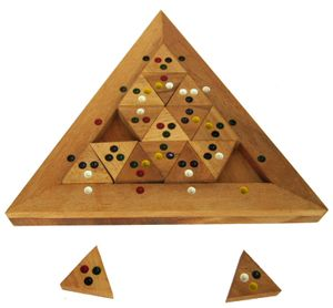 Tri-Match - Domino-Puzzle - Legespiel - Denkspiel - Knobelspiel - Geduldspiel - Logikspiel aus Holz