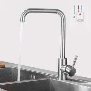 Niederdruck Wasserhahn Küche Armatur aus Edelstahl | 360° Schwenkbar Küche Mischbatterie Einhebelmischer für Kaltwasser und einen Wasserboiler konzipiert