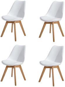 H.J WeDoo 4er Set Esszimmerstühle mit Massivholz Eiche Bein, Küchenstühle-Weiß