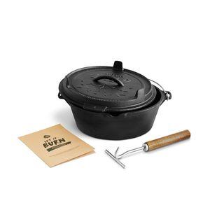 Burnhard Dutch Oven inkl. Deckelheber, Feuertopf mit Deckel, Schmortopf aus Gusseisen, Gusstopf, Grilltopf - John 5,6 L