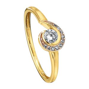 Jacques Lemans Ring 375/- Gold gelb 058 (18,5) Zirkonia weiß 490370031