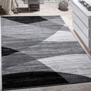 Designer Teppich Modern Geschwungene Wellen Linien Muster Kurzflor Meliert Grau, Grösse:120x170 cm