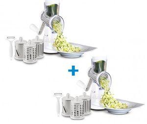 Livington Sumo Slicer Doppel Pack | 3in1 Trommelreibe – zum Raspeln, Schneiden, Reiben | Fixierfunktion | Multiraffel | Reibemaschine | Gemüseheobel |Mühle | Gemüseschneider | Das Original aus dem TV