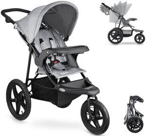 Babyjogger MOUNTAIN Kinderwagen Buggy mit Liegeposition bis ca. 15kg Leichter Kindersportwagen Zusammenklappbar in Grau