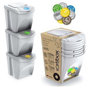 Aufbewahrungs Organizer Boxen mit Deckel Mülltrennung Universal 3x25L Behälter weiß