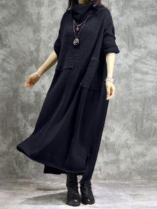 Damenmode Langarm Winter Warm Kleid Strickkleid Rollkragen Plüsch Lang Maxikleid, Marineblau-M