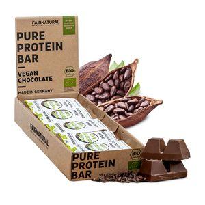 NEU 3K Protein-Riegel Vegan Schoko [aus Deutschland] Schokoladen Eiweißriegel ohne Soja, zugesetzten Zucker oder Whey mit gekeimten Samen - Rein pflanzliche Premium Protein Bars mit Kakao (10 x 45g)