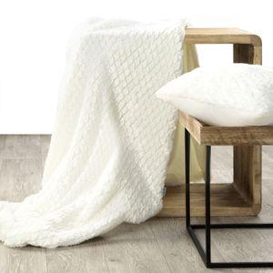 Tagesdecke weiß flauschig 170x210 cm