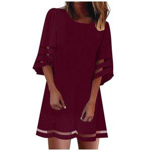 Damen V-Ausschnitt Mesh Panel Bluse 3/4 Bell Sleeve Loose Fashion Kleid Größe:M,Farbe:Rot