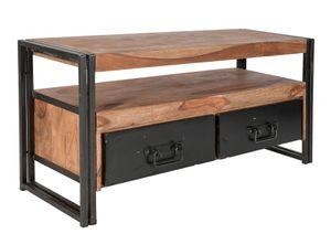 SIT Möbel Lowboard | 2 Schubladen, 1 offenes Fach | Akazie natur | Altmetall antikschwarz | B 112 x T 40 x H 55 cm | 09215-01 | Serie PANAMA