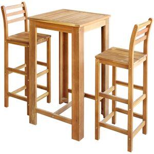 Mllaid Bartisch und Stuhl-Set 3-tlg. Akazienholz Massiv