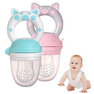 2 Stücke Fruchtsauger für Baby Kleinkind  Silikon-Sauger Schnuller Beißring für Obst Gemüse Brei Beikost (Grün,Pink)