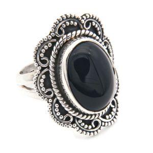Onyx Ring 925 Silber Sterlingsilber Damenring schwarz (MRI 106-03),  Ringgröße:50 mm / Ø 15.9 mm