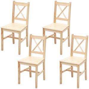 4x Esszimmerstuhl HWC-F77, Lehnstuhl Küchenstuhl Stuhl, Massiv-Holz Landhaus  Kiefer lasiert