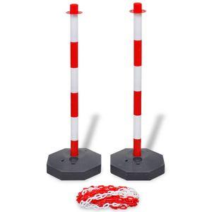 vidaXL Pfosten-Set mit Absperrkette 10 m Kunststoff