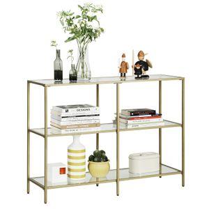 VASAGLE Kommode mit 3 Ablagen 100 x 30 x 73 cm aus Hartglas Sofatisch einfacher Aufbau stabil goldfarben LGT27G