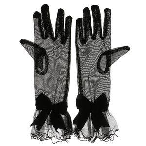 1 Paar x Handschuhe  Schwarz Abendhandschuhe