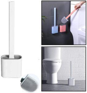 Haobuy Toilettenbürste, Silikon WC-Bürste mit Schnell Trocknendem Haltersatz, Wandmontage flache flexible Tiefenreinigung Klobürste (Weiß)