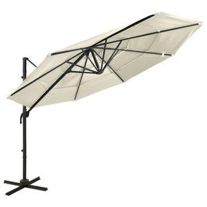 vidaXL Sonnenschirm mit Aluminium-Mast 4-lagig Sandfarben 3x3 m
