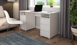 HOMEXPERTS Schreibtisch LOOP, in weiß, mit 3 Schubkästen und 1 Tür, Breite 138 cm