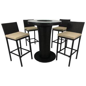 Bar-Set 5-teilig Aluminium und Polyester Braun
