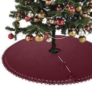 XXL Weihnachtsbaumdecke 120 cm Fleece mit Knöpfen und Satinbänder rund rot weinrot Christbaum Christbaumdecke Tannenbaumdecke