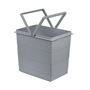 Inneneimer Mülleimer hellgrau 18L Original Hailo 1093479 für Einbau-Abfallsammlersystem 321x226x295mm für Raumspar-Tandem, Rondo, Separato K Einbauvarianten mit Auszugsystem