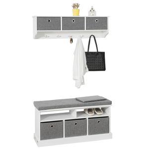 SoBuy Wandgarderobe-Set Flurset Flurmöbel Schuhbank mit Sitzfläche Flurgarderobe, weiß und grau FSR67-HG+ FRG282-W