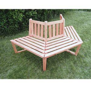 1/2 Baumbank 180° Sitztmöbel mit oder ohne Auflage Holz Gartenmöbel 360/21, Zubehör:Ohne Zubehör